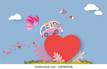 Valentines day card with couple driving pink bus with air balloons over big red heart on blue sky background. Vector paper art illustration. Paper cut and craft style.