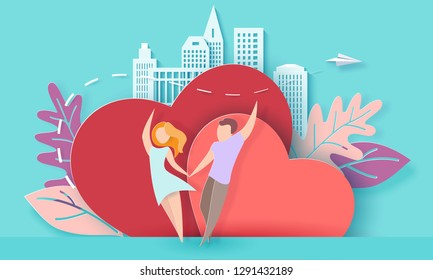 Valentines day card with couple holding hands in love and running on red hearts background with modern sity and paper plane. Vector paper art illustration. Paper cut and craft style.