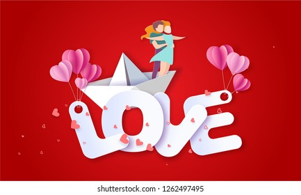 Valentines day card with couple hugging in love on paper boat on big letters LOVE. Vector paper art illustration. Paper cut and craft style.