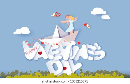Valentine's day card with couple hugging in love on paper boat over big letters in the sky with clouds. Vector paper art illustration. Paper cut and craft style.