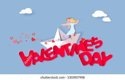 Valentine's day card with couple hugging in love on paper boat over big red letters in the sky with clouds. Vector paper art illustration. Paper cut and craft style.