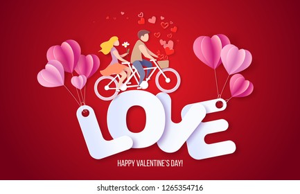 Valentines day card with couple riding tandem bicycle on big letters LOVE with air balloons. Vector paper art illustration. Paper cut and craft style.
