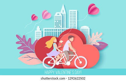 Valentines day card with couple riding bicycle on red hearts background with modern sity and air balloons. Vector paper art illustration. Paper cut and craft style.
