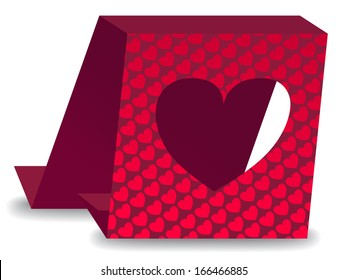 Valentine's Day card with cut out heart