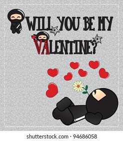 Valentine's day card with cute cartoon ninja character lying on the ground with a flower in his mouth, vector