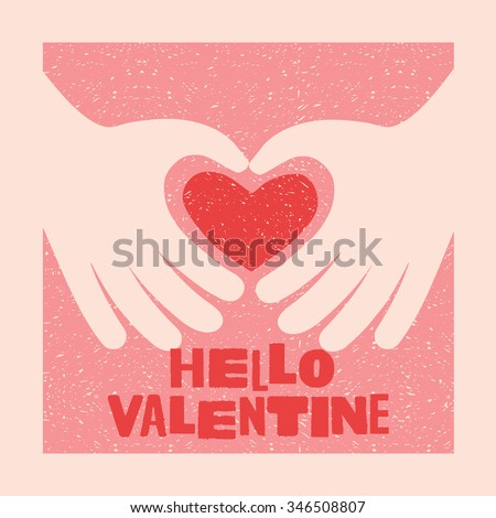 Valentines Day Card Design 2 Hands Stock Vector Royalty Free