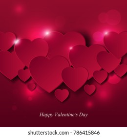 Valentine's day card design. Abtract background with paper cut hearts. Vector illustration.
