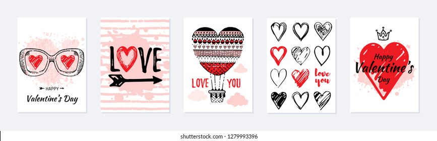 Valentine's day card design set. Posters with hearts, air balloon, slogan. Vector illustration for greeting gift tag, t shirt print. Trendy hand drawn doodle style, cool flyer template, white isolated