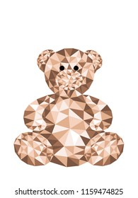 Valentine's day card design template. Low poly background in teddy bear, Vector with cute background of brown bear toy,Valentine or Love card in polygon vector