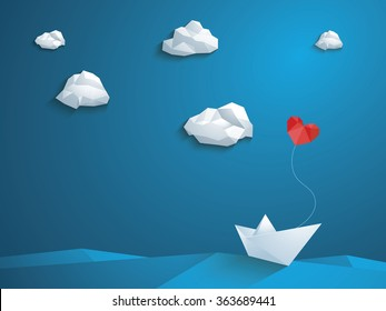 Valentine's day card design template. Low poly paper boat with heart shaped balloon sailing over the waves. Blue sky and polygonal clouds. Eps10 vector illustration.