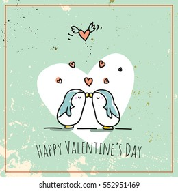 Valentine's day card doodle style vector illustration. Cute penguins couple with heart, love symbol.