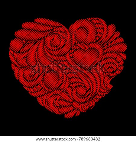 Valentines Day Card Embroidery Red Heart Stock Vector Royalty Free