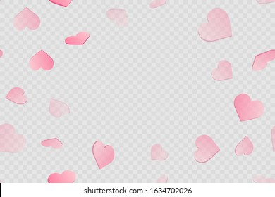 Valentine's day card with falling pink hearts on transparent background. Vector.