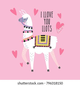 Valentine's day card featuring a cute llama with hand drawn elements.