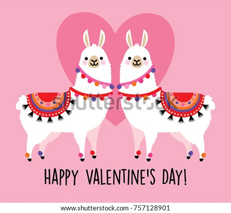 Valentines Day Card Featuring Cute Llama Stock Vector Royalty Free