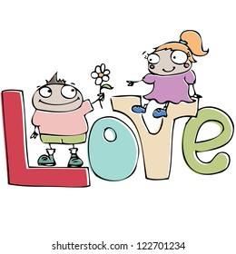 valentine's day card , funny cartoon couple in love