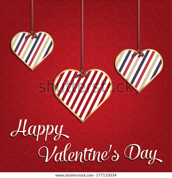 Valentines Day Card Geometric Red Heart Stock Vector