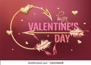Valentine's Day card with gold hearts and arrows. Vector illustration