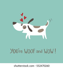 Valentine's day card with happy and funny dog.