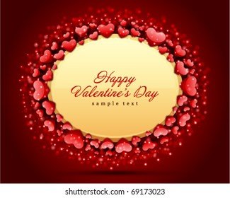 Valentine's day card with hearts frame vector background