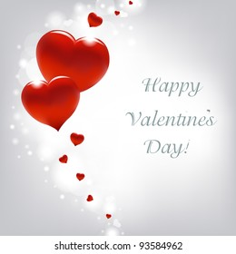Valentines Day Card With Hearts, Vector Illustration