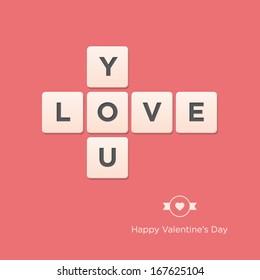 Valentines day card. Letter alphabet. Vector design editable.