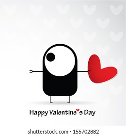Valentine`s day card with monster and heart - Shutterstock ID 155702882