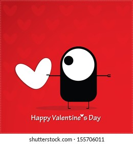 Valentine`s day card with monster and heart - Shutterstock ID 155706011