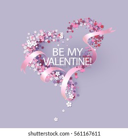 Valentines Day card with pink flowers heart shaped and ribbon with text. Vector illustration