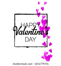 Valentines day card with pink glitter hearts. February 14th. Vector confetti for valentines day card template. Grunge hand drawn texture. Love theme for gift coupons, vouchers, ads, events.