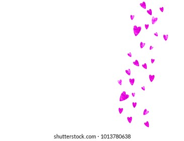 Valentines day card with pink glitter hearts. February 14th. Vector confetti for valentines day card template. Grunge hand drawn texture. Love theme for voucher, special business ad, banner.