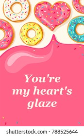 Valentine's Day card. Pink heart and white  blue mint and yellow lemon donut. Pink glaze flows down from donuts. You're my heart glaze