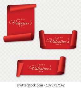 Valentine's day card with red scroll. Vector.