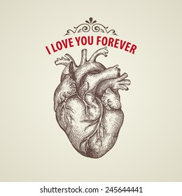 Valentine's Day card. Retro engraving heart