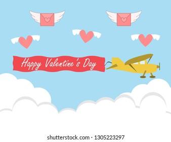 Valentine's day card with retro sailplane. glider vector design illustration.