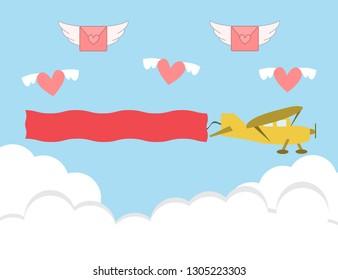 Valentine's day card with retro sailplane. blank text area.