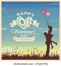 Valentine's day card with romantic couple vector background