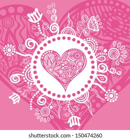 Valentines day card romantic heart flowers pattern vector illustration