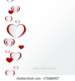 Valentine's day card. Seamless border. Abstract paper hearts. Love background.
