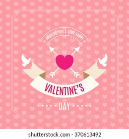 Valentines day card. Seamless pink heart background pattern, greeting headline with ribbon banner, heart with arrows, flying doves silhouettes. Vector illustration.