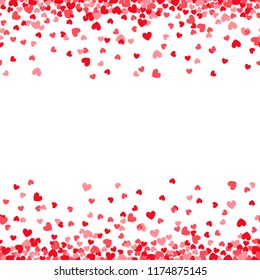 Valentines day card template with pink and red heart borders