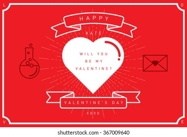 valentine's day card template vector/illustration