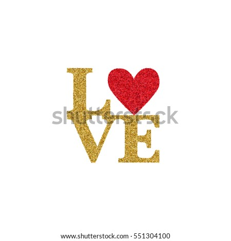 Valentines Day Card Text Love Golden Stock Vector Royalty Free
