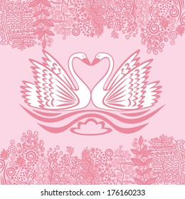 Valentines day card two swans romantic nature pattern background pink vector illustration