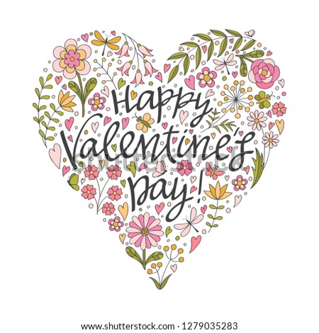 Valentines Day Card Vector Doodles Heart Stock Vector