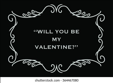 Valentines Day Card Will You Be My Valentine In Silent Movie Style