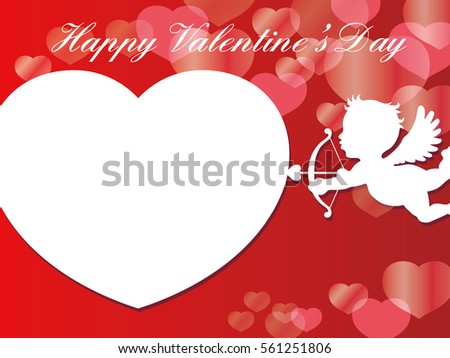 Valentines Day Cardbackground Illustration White Cupid Stock Vector