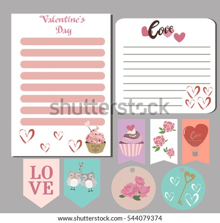 valentines day cards gift tags planner stock vector royalty free