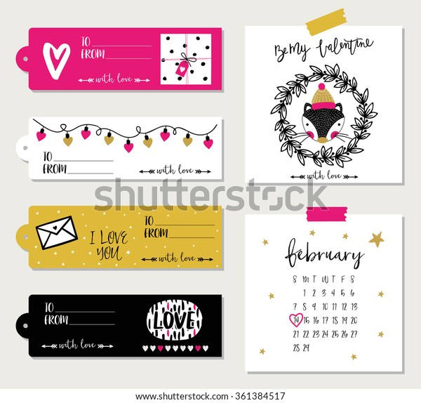 Valentines day cards, GIFT TAGS, STICKERS AND LABELS. Template for Greeting Scrap booking, Congratulations, Invitations, Planner, Diary, Notes.