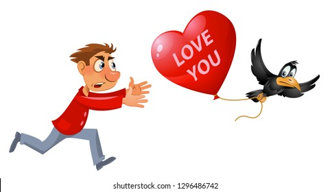Valentines day. Cartoon man trying to catch crow who carries stolen heart shape balloon. Vector illustration. Elements is grouped. On white background. No transparent objects.